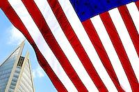 American Flag against Charlotte, NC  Skyline