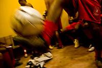 Belo Horizonte_MG, Brasil...1a Copa Kaiser de Futebol Amador de Belo Horizonte. Na foto partida entre  Felicidade (vermelho) x Prointer (verde)...1st Kaiser Cup of Amateur Football in Belo Horizonte. The match was between Felicidade (red) x Prointer (green)...Foto: NIDIN SANCHES / NITRO