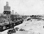 A view of Union Station being constructed from August first 1908. The station was opened to the public in July of 1909. Construction on the station was part of a five-year program (begun in 1906) of street widening, the addition of thoroughfares, demolition of buildings, construction, elevation of train tracks, the opening of Freight Street and Meadow Street from West Main to Bank Street and the creation of Library Park.