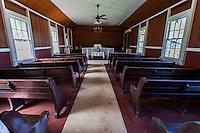 The interior of Kahakuloa Congregational Church in Old Kahakuloa Village, Maui.