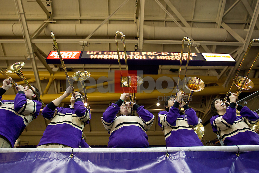 Band members, saxophone, UW band,..Washington Huskies women's basketball against the Arizona Wildcats at Alaska Airlines Arena at Hec Edmundson Pavilion in Seattle on Thursday, January 26, 2012. (Photo by Dan DeLong/Red Box Pictures)