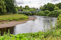 Memorial Bridge over Eden River, Rickerby Park, Carlisle, Cumbria, England, UK.