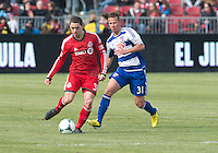 06 April 2013: Toronto FC midfielder Hogan Ephraim #31 and FC Dallas defender/midfielder Michel #31 in action during an MLS game between FC Dallas and Toronto FC at BMO Field in Toronto, Ontario Canada..The game ended in a 2-2 draw..