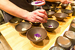 Crab, Jus of Pistil, Violets, Matchmaker Supper Club at Castagna Restaurant, Portland, OR featuring pottery by Careen Stoll, Lilith Rockett and Lindsay Oesterritter.  Food prepared by chefs Justin Woodward and Ryan Roadhouse.