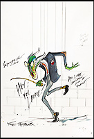 BNPS.co.uk (01202 558833)<br /> Pic: Sothebys/BNPS<br /> <br /> 'Hey you laddie' - Pink Floyd.<br /> <br /> A collection of more than 130 drawings by one of Britain's most celebrated cartoonists has emerged for auction and are tipped to sell for &pound;850,000.<br /> <br /> The collection of Gerald Scarfe - who has worked as a cartoonist for the Sunday Times for 44 years - includes satirical portraits of leading political figures from Winston Churchill to Theresa May, as well as examples of his work on Disney film Hercules and Pink Floyd's animation film The Wall.<br /> <br /> While many of the drawings included in the auction have been published, a number of works included in the sale are unseen.<br /> <br /> Those who have been immortalised in his cartoons include Donald Trump, Barack Obama, George Bush, David Cameron, Tony Blair, Margaret Thatcher, Boris Johnson, Nigel Farage, George Osborne and Jeremy Corbyn.