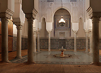 Mausoleum of Moulay Ismail, Meknes, Morocco, 1703, built by Ahmed Eddahbi, pictured on December 21, 2009. The elaborately decorated interior is a fine example of Islamic architecture. Elegant colums support decorative archways, and a fountain stands in the centre of the room on the ceramic tiled floor. Meknes, one of Morocco's Imperial cities, was redeveloped under Sultan Ismail Moulay (1634-1727). It is a fortified city built from pise, or clay and straw, and was designed to be the political capital of Morocco, as opposed to Fez, the religious capital. Picture by Manuel Cohen