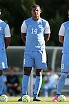 18 September 2015: North Carolina's Omar Holness (JAM) (14). The University of North Carolina Tar Heels hosted the University of Notre Dame Fighting Irish at Fetzer Field in Chapel Hill, NC in a 2015 NCAA Division I Men's Soccer match. North Carolina won the game 4-2