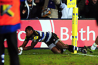 Semesa Rokoduguni of Bath Rugby scores a try in the first half. Aviva Premiership match, between Bath Rugby and Newcastle Falcons on March 18, 2016 at the Recreation Ground in Bath, England. Photo by: Patrick Khachfe / Onside Images