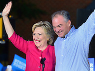 Harrisburg, PA - July 29, 2016: Democratic presidential nominee Hillary Clinton and vice presidential candidate Tim Kaine greet supporters in Harrisburg, PA, during a campaign stop on the Clinton/Kaine bus tour July 29, 2016. (Photo by Don Baxter/Media Images International)