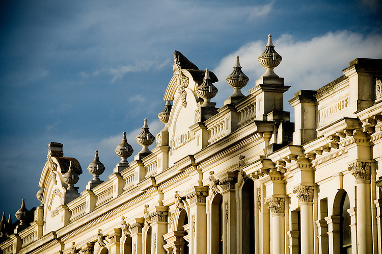 Facade of historic whitestone building, Oamaru, New Zealand - stock photo, canvas, fine art print