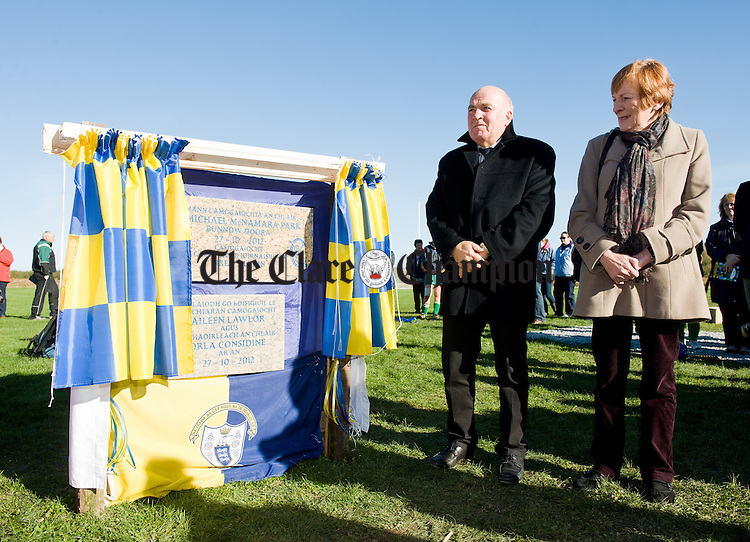 Tom Mc Namara and Helen Browne, brother and sister of the late Fr. Mc Namara unveil the plaque at the official opening of Fr Mc Namara Memorial Park in Doora. Photograph by John Kelly.
