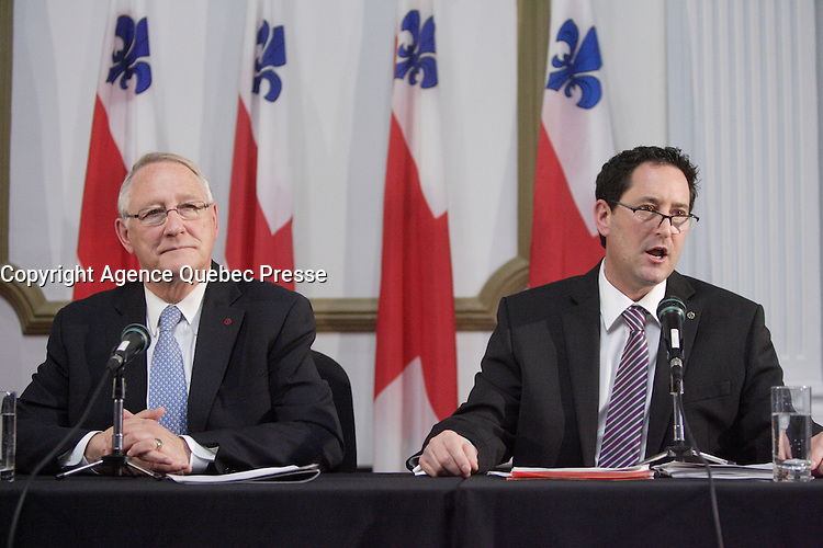 Montreal (Qc) CANADA - November 30 201 File Photo - Montreal city Budget - Gerald Tremblay, Mayor (L), Michael Applebaum (R) - Michael Applebaum is one of the possible replacement of Mayor Gerald Tremblay who resigned November 5, 2012.