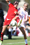23 October 2011: Maryland's Megan Gibbons (16) and Duke's Molly Mack (11). The Duke University Blue Devils defeated the University of Maryland Terrapins 3-1 at Koskinen Stadium in Durham, North Carolina in an NCAA Division I Women's Soccer game.