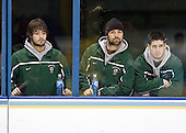 Andrew Kozek (University of North Dakota - Sicamous, BC), Chris Porter (University of North Dakota - Thunder Bay, ON) and Chris VandeVelde (University of North Dakota - Moorhead, MN) watch the Boston College Eagles' morning skate on Thursday, April 5, 2007, at the Scottrade Center in St. Louis, Missouri.
