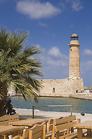 Rethymno lighthouse in old Venetian harbor, Crete