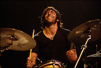 Matt Burr, drummer for Grace Potter and the Nocturnals, plays at the Shelburn Museum in Shelburn, Vermont.