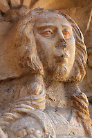 Sculptural detail of a female head, in the arcade of the Cloister, built in Manueline style by Diogo Boitac, Joao de Castilho and Diogo de Torralva, completed 1541, in the Jeronimos Monastery or Hieronymites Monastery, a monastery of the Order of St Jerome, built in the 16th century in Late Gothic Manueline style, Belem, Lisbon, Portugal. The cloister wings have wide arcades with rectangular column and tracery within the arches. The monastery is listed as a UNESCO World Heritage Site. Picture by Manuel Cohen