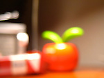 A macro shot of blurred kitchen objects