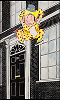 BNPS.co.uk (01202 558833)<br /> Pic: Sothebys/BNPS<br /> <br /> 'A Good Place to Hang Out' - Boris Johnson.<br /> <br /> A collection of more than 130 drawings by one of Britain's most celebrated cartoonists has emerged for auction and are tipped to sell for &pound;850,000.<br /> <br /> The collection of Gerald Scarfe - who has worked as a cartoonist for the Sunday Times for 44 years - includes satirical portraits of leading political figures from Winston Churchill to Theresa May, as well as examples of his work on Disney film Hercules and Pink Floyd's animation film The Wall.<br /> <br /> While many of the drawings included in the auction have been published, a number of works included in the sale are unseen.<br /> <br /> Those who have been immortalised in his cartoons include Donald Trump, Barack Obama, George Bush, David Cameron, Tony Blair, Margaret Thatcher, Boris Johnson, Nigel Farage, George Osborne and Jeremy Corbyn.