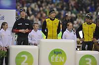 SCHAATSEN: HEERENVEEN: IJsstadion Thialf, 27-12-2015, KPN NK Afstanden, Eindpodium 5000m Heren, Jorrit Bergsma, Sven Kramer, Douwe de Vries, ©foto Martin de Jong