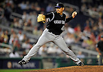 15 August 2008: Colorado Rockies' closing pitcher Brian Fuentes on the mound against the Washington Nationals at Nationals Park in Washington, DC.  The Rockies edged out the Nationals 4-3, handing the last place Nationals their 8th consecutive loss. ..Mandatory Photo Credit: Ed Wolfstein Photo
