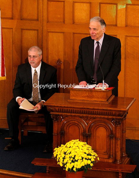 WINSTED, CT - 26 SEPTEMBER 2015 - 092615JW10.jpg -- Ralph Nader addresses an audience at the Winsted United Methodist Church Saturday morning. Nader spoke on the opening of the American Museum of Tort Law as Richard L. Newman the museum Director looks on. Jonathan Wilcox Republican-American
