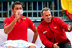 06.04.2012 Oropesa, Spain. 1/4 Final Davis Cup. Nico Almagro talks with his coach Alex Corretja during first match of 1/4 final game of Davis Cup played at Oropesa town.