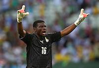Ghana goalkeeper Fatawu Dauda celebrates his sides opening goal, 1-1