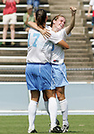 24 September 2006: UNC's Heather O'Reilly (r) celebrates her goal with Yael Averbuch (17). The University of North Carolina Tarheels defeated the University of Miami Hurricanes 6-1 at Fetzer Field in Chapel Hill, North Carolina in an NCAA Division I women's soccer game.
