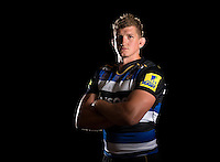 Stuart Hooper poses for a portrait in the 2015/16 home kit during a Bath Rugby photocall on September 8, 2015 at Farleigh House in Bath, England. Photo by: Patrick Khachfe / Onside Images