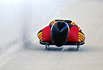 12 December 2006: Matthias Biedermann, from Germany, slides down a straightaway during a training run in preparation for the World Cup Skeleton Competition at the Olympic Sports Complex on Mount Van Hoevenburg  in Lake Placid, New York, USA.&amp;#xA;&amp;#xA;Mandatory Photo credit: Ed Wolfstein Photo<br />