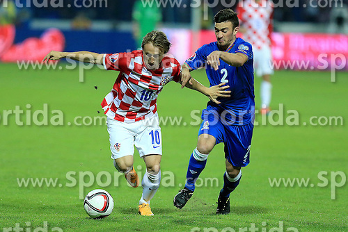 13.10.2014, Stadion Gradski vrt, Osijek, CRO, UEFA Euro Qualifikation, Kroatien vs Aserbaidschan, Gruppe H, im Bild Luka Modric, Qara Qarayev // during the UEFA EURO 2016 Qualifier group H match between Croatia and Azerbaijan at the Stadion Gradski vrt in Osijek, Croatia on 2014/10/13. EXPA Pictures &copy; 2014, PhotoCredit: EXPA/ Pixsell/ Davor Javorovic<br /> <br /> *****ATTENTION - for AUT, SLO, SUI, SWE, ITA, FRA only*****