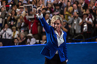 Former Michigan Governor Jennifer Granholm raises her fist after speaking at the Democratic National Convention on Thursday, September 6, 2012 in Charlotte, NC.