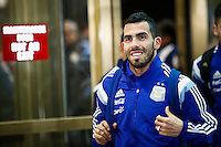 Argentina soccer player Carlos Tevez arrives to the hotel to attend the friendly match between Argentina and Ecuador in New Jersey. 03.30.2015. Eduardo MunozAlvarez / VIEWpress.
