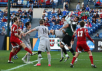 HOOVER, AL - DECEMBER 09, 2012: Luis Soffner (1) of Indiana University saves from Brandon Allen (10) of Georgetown University during the NCAA 2012 Men's College Cup championship, at Regions Park, in Hoover , AL, on Sunday, December 09, 2012.