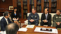 ICHIGAYA, Japan (April 11, 2011) Japan Minister of Defense Toshimi Kitazawa meets with Adm. Patrick M. Walsh, third from left, commander of Joint Support Force, to discuss continued U.S. military support to Operation Tomodachi. Kitazawa expressed his appreciation for U.S. military support to Operation Tomodachi.  (Photo by U.S. Navy/AFLO) [0006]