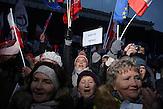 &quot;Freie Medien&quot;<br />Demonstration gegen das neue Mediengesetz und die polnische Regierung vor dem Polnischen Fernsehen TVP. <br /><br />An anti-government demonstrationby the &quot;Committee for the Defense of Democracy&quot; (KOD) for free media in front of the Polish public Television (TVP) headquarter in Warsaw.