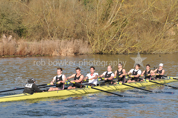 157 SEN.8+ Thames RC B..Reading University Boat Club Head of the River 2012. Eights only. 4.6Km downstream on the Thames form Dreadnaught Reach and Pipers Island, Reading. Saturday 25 February 2012.