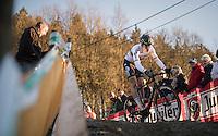 World Champion Wout Van Aert (BEL/Crelan-Vastgoedservice) on his way to winning the 2016 CX Superprestige Spa-Francorchamps (BEL)