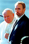 Fidel Castro with Pope John Paul II at the Jose Marti Airport in Havanna Cuba, January 21, 1998.