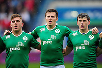 Jacob Stockdale and other Ireland U20 players sing the national anthem. World Rugby U20 Championship match between New Zealand U20 and Ireland U20 on June 11, 2016 at the Manchester City Academy Stadium in Manchester, England. Photo by: Patrick Khachfe / Onside Images