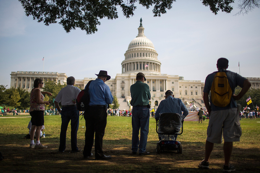 """The Tea Party holds an  """"Exempt America from Obamacare"""" rally on Capitol Hill in Washington."""