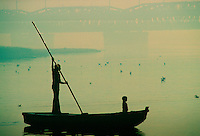 Man and child on ferry, Delhi, India