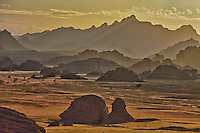 Sandstone mountains and pinancles, Jebel Acacus, LIbya, Mountains in Sahara Desert UNESCO World Heritage Site, The Awiss