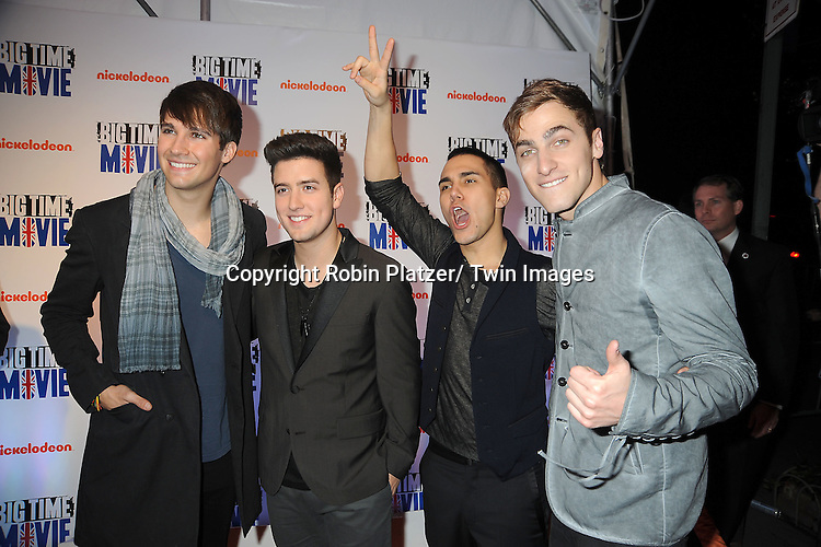 """Big Time Rush""""s James Maslow and Logan Henderson, Carlos Pena, Jr, Kendall Schmidt attend The movie premiere of """" Big Time Movie"""" starring .Big Time Rush of Nickelodeon on March 8, 2012 at 583 Park Avenue in New York City."""