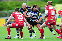 Nathan Catt of Bath Rugby looks to take on the Scarlets defence. Pre-season friendly match, between the Scarlets and Bath Rugby on August 20, 2016 at Eirias Park in Colwyn Bay, Wales. Photo by: Patrick Khachfe / Onside Images