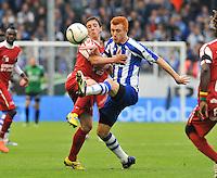 AA Gent - KV Kortrijk : duel tussen Brecht Dejaegere en Bernd Thijs.foto DAVID CATRY / BART VANDENBROUCKE / VDB