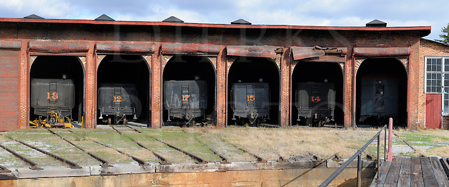 Roundhouse with steam locomovtives at the East Broad Top Railroad photographed in panorama.