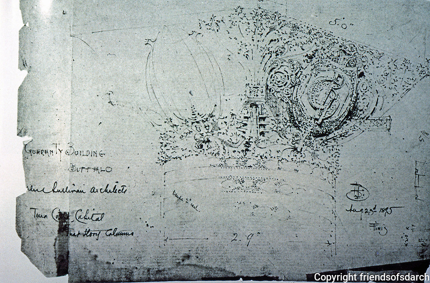 "Louis Sullivan: Drawing--First Floor Capital, Guaranty Bldg. Pencil, 8 1/2"" X 11"".  Photo  '84."
