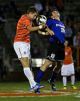 The number 24 ranked Furman Paladins took on the number 20 ranked Clemson Tigers in an inter-conference game at Clemson's Riggs Field.  Furman defeated Clemson 2-1.  Eli Pinner (19), Alex Stockinger (7)